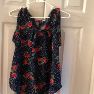 Flower Navy and red blouse